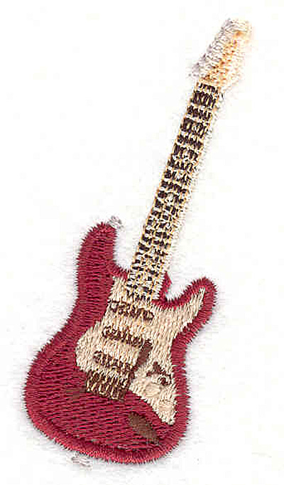 """Embroidery Design: Guitar 1 2.71"""" X 1.39"""""""