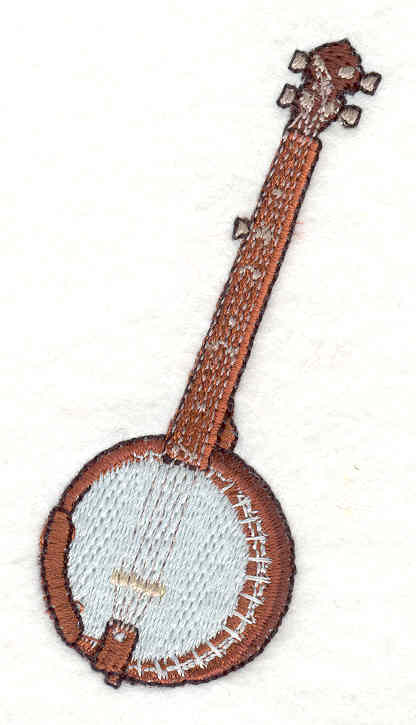"Embroidery Design: Banjo 3.21"" X 1.78"""