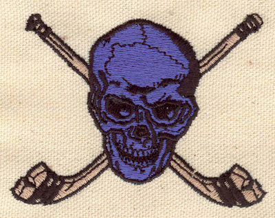 Embroidery Design: Crossed Hockey sticks with skull 3.20w X 2.39h