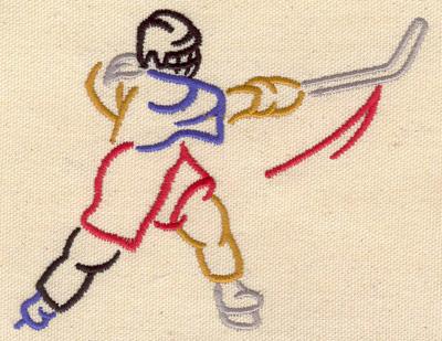Embroidery Design: Hockey player 4.70w X 3.76