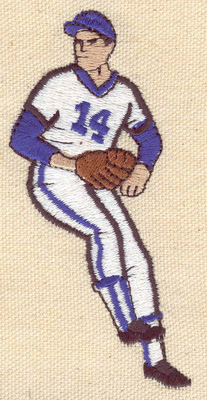 Embroidery Design: Baseball player 1.93w X 3.89h