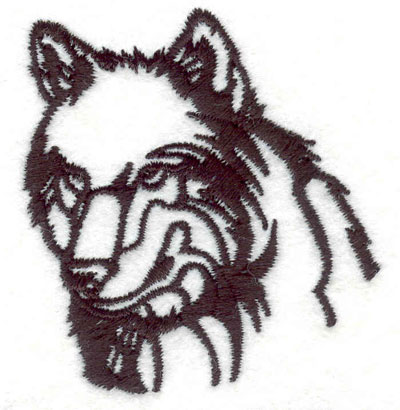 "Embroidery Design: Wolf head F 2.11""w X 2.27""h"