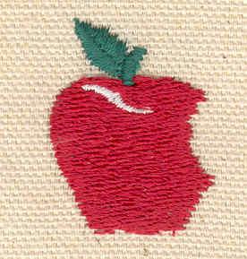 Embroidery Design: Apple 0.96w X 1.23h
