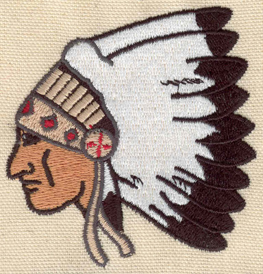 Embroidery Design: Indian head3.02w X 3.16h