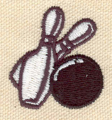 Embroidery Design: Bowling ball with two pins 1.32w X 1.44h