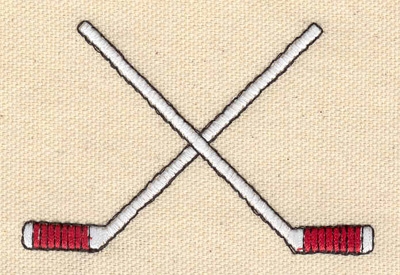 Embroidery Design: Crossed hockey sticks 3.05w X 2.02h