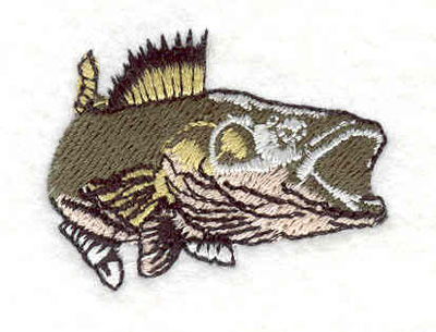 "Embroidery Design: Bass D 1.61""w X 1.25""h"
