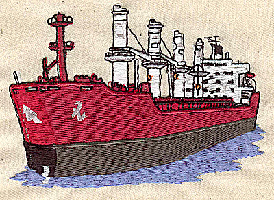 Embroidery Design: Cargo ship 4.14w X 2.85h