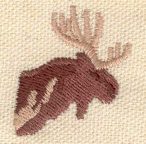 Embroidery Design: Moose head 1.13w X 1.32h