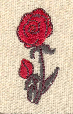 Embroidery Design: Rose and bud 0.72w X 1.62h