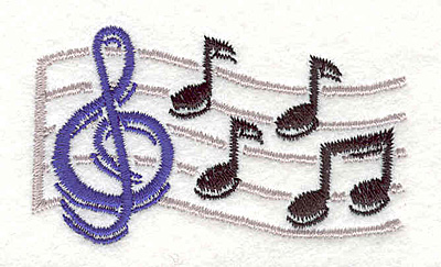 """Embroidery Design: Treble Clef and Notes 1 1.67"""" X 2.82"""""""