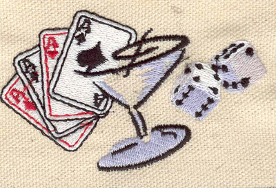 Embroidery Design: Cards dice and martini glass 3.03w X 1.83h