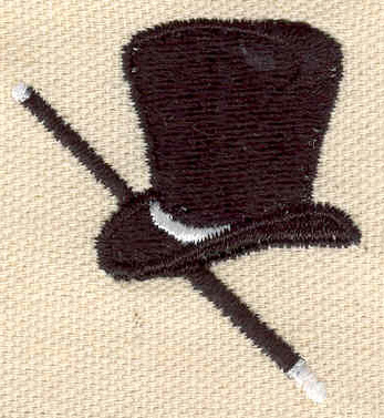 Embroidery Design: Top hat with walking stick 1.61w X 1.72h