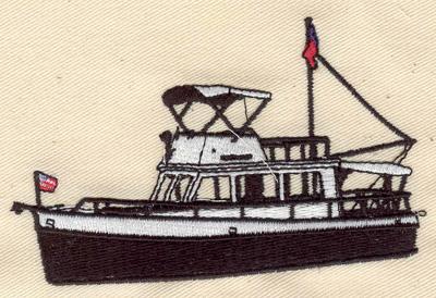 Embroidery Design: Boat 4.02w X 2.60h