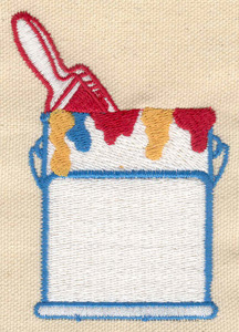 Embroidery Design: Paint brush in paint can 2.56w X 3.57h