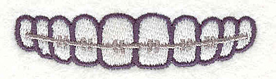 """Embroidery Design: Teeth With Braces  0.60"""" x 2.39"""""""