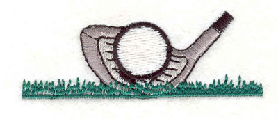 "Embroidery Design: Golf club ball on grass 2.75""w X 1.00""h"