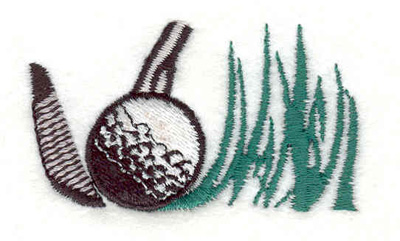 "Embroidery Design: Golf Ball club and grass 2.26""w X 1.31""h"