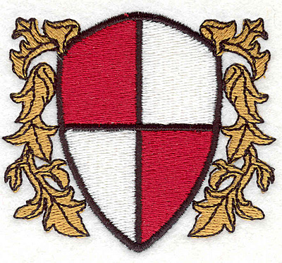 """Embroidery Design: Shield with Leaves2.57""""x2.87"""""""