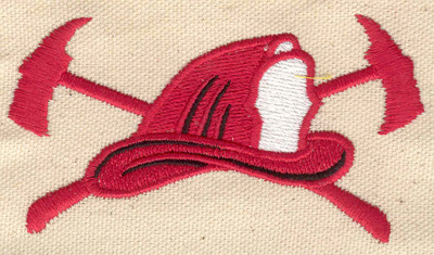 Embroidery Design: Firefighter's helmet and axes 3.80w X 2.06h