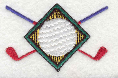 "Embroidery Design: Golf ball with clubs 2.57""w X 1.69""h"