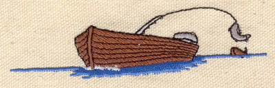 Embroidery Design: Fishing boat  3.86w X 0.95h