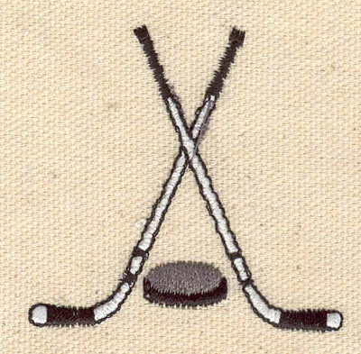 Embroidery Design: Crossed hockey sticks with puck 2.09w X 2.06h
