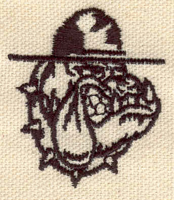 Embroidery Design: Bulldog with hat 1.54w X 1.79h