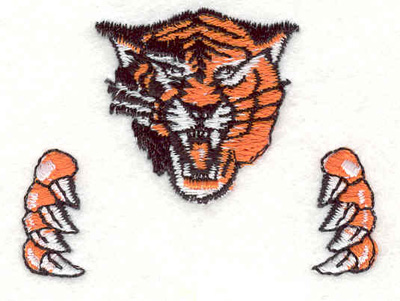 """Embroidery Design: Tiger with claws C 2.37""""w X 1.79""""h"""
