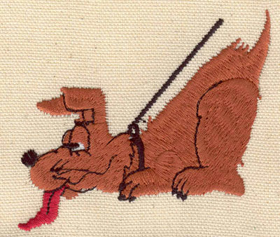 Embroidery Design: Dog on leash3.21w X 2.88h