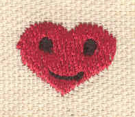 Embroidery Design: Heart happy face 0.70w X 0.58h