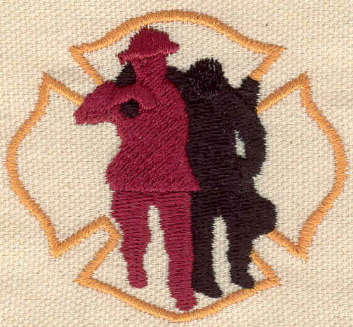 Embroidery Design: Fireman rescuing victim 2.51w X 2.26h