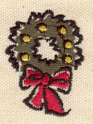 Embroidery Design: Wreath with bow 1.32w X 1.77h