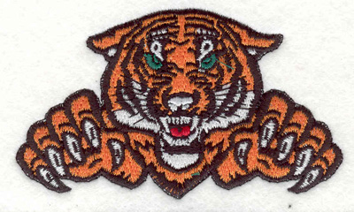 """Embroidery Design: Tiger with claws D 3.89""""w X 2.32""""h"""