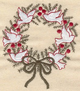 Embroidery Design: Wreath with doves 3.52w X 3.97h
