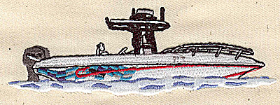 Embroidery Design: Motor boat 4.50w X 1.52h