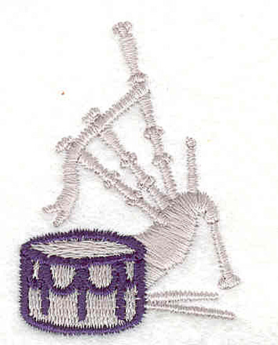 """Embroidery Design: Drum and Bagpipe 2.00"""" X 1.39"""""""
