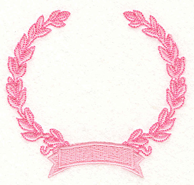 """Embroidery Design: Wreath & Banner 2 3.13"""" X 3.35"""""""