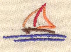 Embroidery Design: Sailboat 1.07w X 0.63h