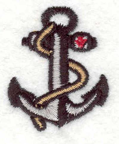 """Embroidery Design: Anchor with rope M 1.31""""w X 1.61""""h"""