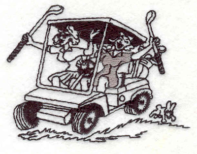 "Embroidery Design: Golf cart 2.83""w X 2.14""h"