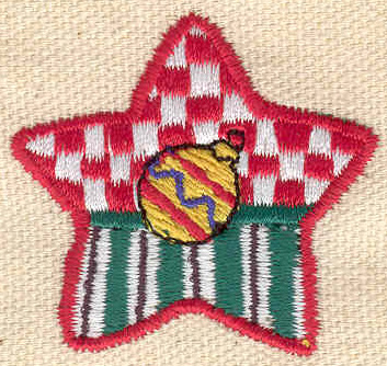 Embroidery Design: Christmas star with ornament 1.67w X 1.61h