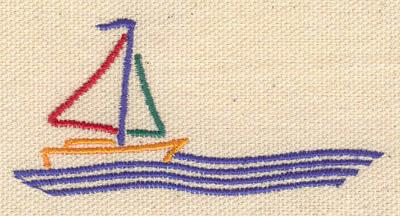 Embroidery Design: Sail boat 3.10w X 1.46h