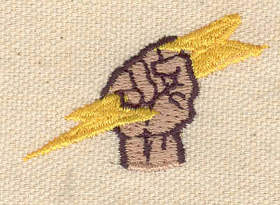 Embroidery Design: Hand with electric bolt 1.73w X 1.15h