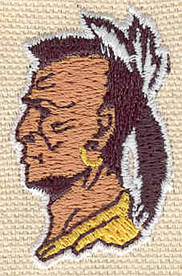 Embroidery Design: Indian head 1.06w X 1.69h