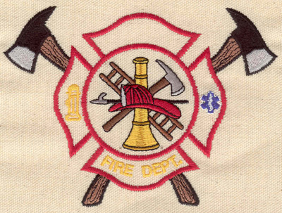 Embroidery Design: Fire Dept. emblem Maltese cross with vintage fire truck 5.23w X 3.83h