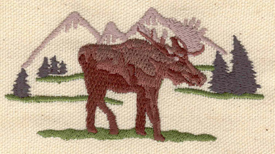 Embroidery Design: Moose with mountain scenery 3.56w X 1.89h
