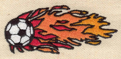 Embroidery Design: Flaming soccer ball 3.17w X 1.39h