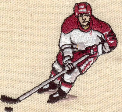 Embroidery Design: Hockey Player 2.47w X 2.41h