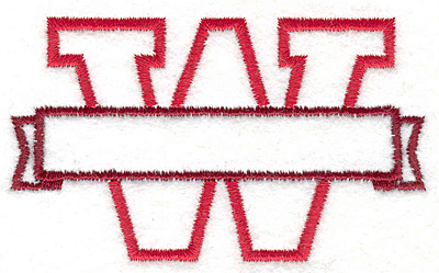 """Embroidery Design: W Banner2.04"""" x 3.46"""""""